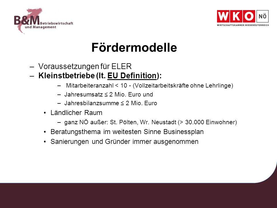 Fördermodelle –Voraussetzungen für ELER –Kleinstbetriebe (lt. EU Definition):EU Definition – Mitarbeiteranzahl < 10 - (Vollzeitarbeitskräfte ohne Lehr