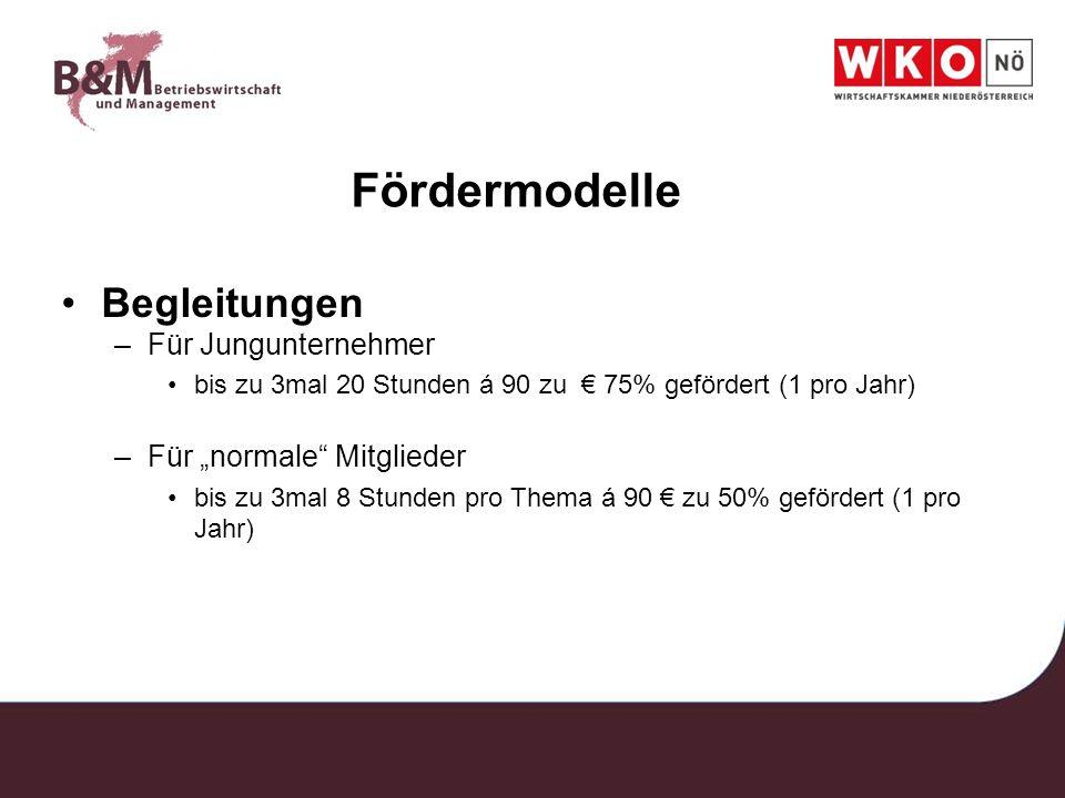 Fördermodelle Begleitungen –Für Jungunternehmer bis zu 3mal 20 Stunden á 90 zu 75% gefördert (1 pro Jahr) –Für normale Mitglieder bis zu 3mal 8 Stunde