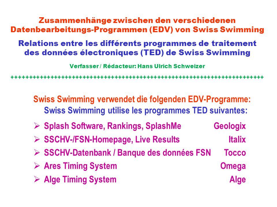 Zusammenhänge zwischen den verschiedenen Datenbearbeitungs-Programmen (EDV) von Swiss Swimming Relations entre les différents programmes de traitement des données électroniques (TED) de Swiss Swimming Verfasser / Rédacteur: Hans Ulrich Schweizer +++++++++++++++++++++++++++++++++++++++++++++++++++++++++++++++++++++++ Swiss Swimming verwendet die folgenden EDV-Programme: Swiss Swimming utilise les programmes TED suivantes: Splash Software, Rankings, SplashMe Geologix SSCHV-/FSN-Homepage, Live ResultsItalix SSCHV-Datenbank / Banque des données FSN Tocco Ares Timing SystemOmega Alge Timing System Alge