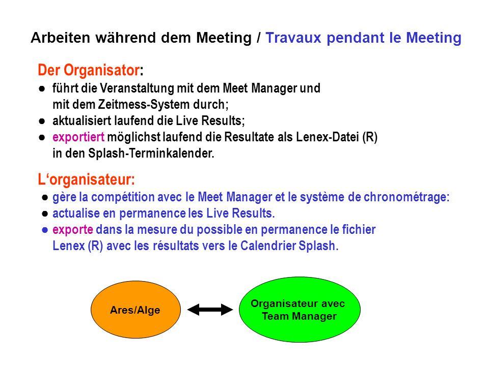 Der Organisator: führt die Veranstaltung mit dem Meet Manager und mit dem Zeitmess-System durch; aktualisiert laufend die Live Results; exportiert möglichst laufend die Resultate als Lenex-Datei (R) in den Splash-Terminkalender.