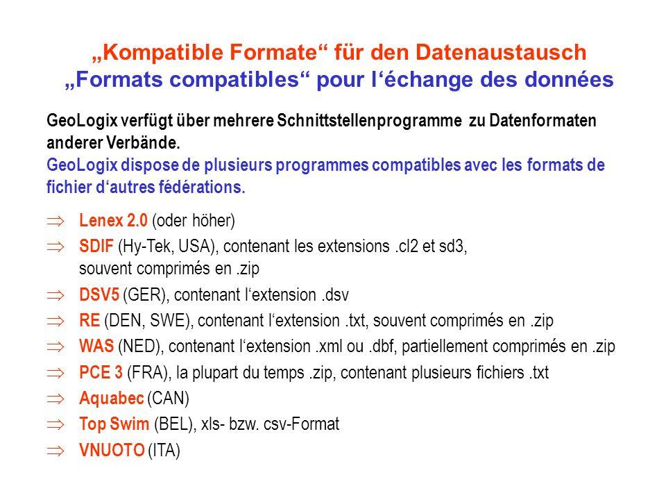 Kompatible Formate für den Datenaustausch Formats compatibles pour léchange des données GeoLogix verfügt über mehrere Schnittstellenprogramme zu Datenformaten anderer Verbände.
