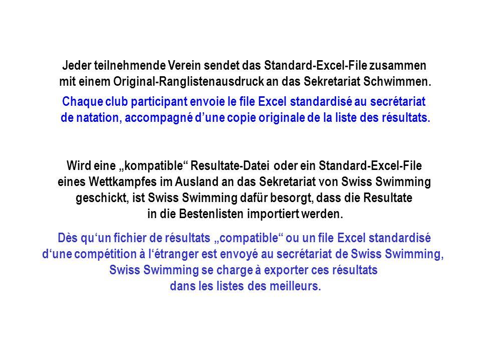 Jeder teilnehmende Verein sendet das Standard-Excel-File zusammen mit einem Original-Ranglistenausdruck an das Sekretariat Schwimmen.