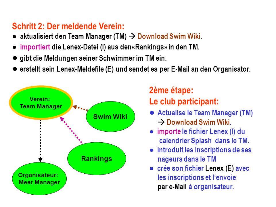 Verein: Team Manager Rankings Swim Wiki Schritt 2: Der meldende Verein: aktualisiert den Team Manager (TM) Download Swim Wiki.