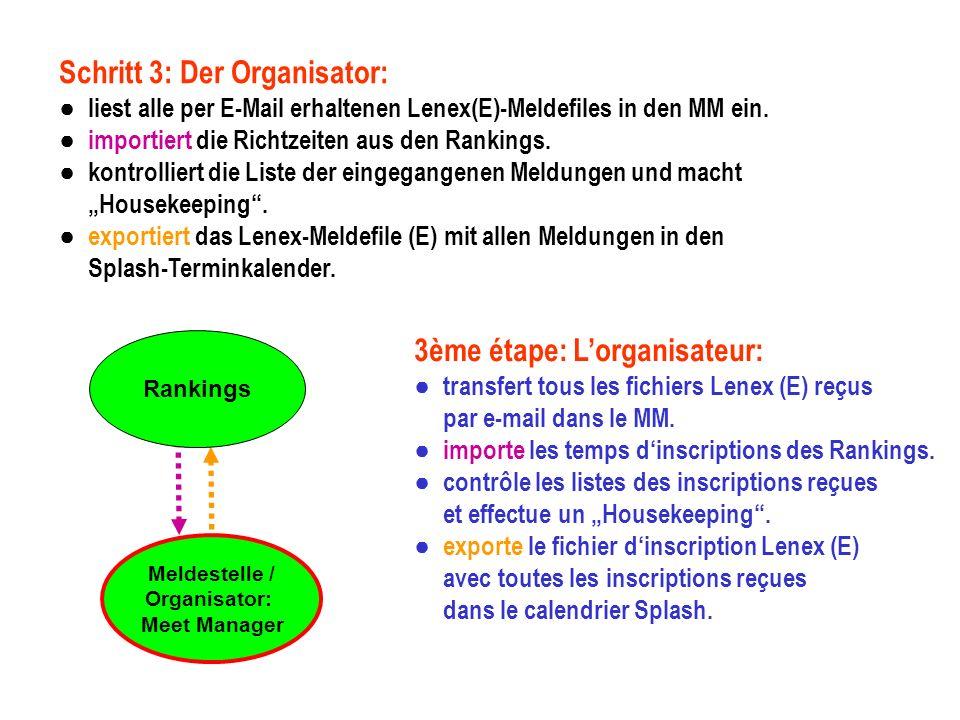 Rankings Schritt 3: Der Organisator: liest alle per E-Mail erhaltenen Lenex(E)-Meldefiles in den MM ein.
