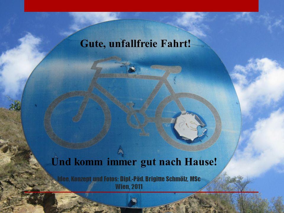 Idee, Konzept und Fotos: Dipl.-Päd.Brigitte Schmölz, MSc Wien, 2011 Gute, unfallfreie Fahrt.