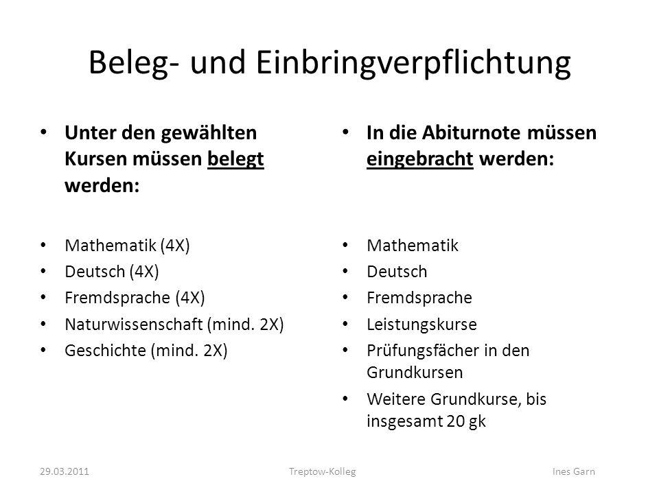 Beleg- und Einbringverpflichtung Unter den gewählten Kursen müssen belegt werden: Mathematik (4X) Deutsch (4X) Fremdsprache (4X) Naturwissenschaft (mi