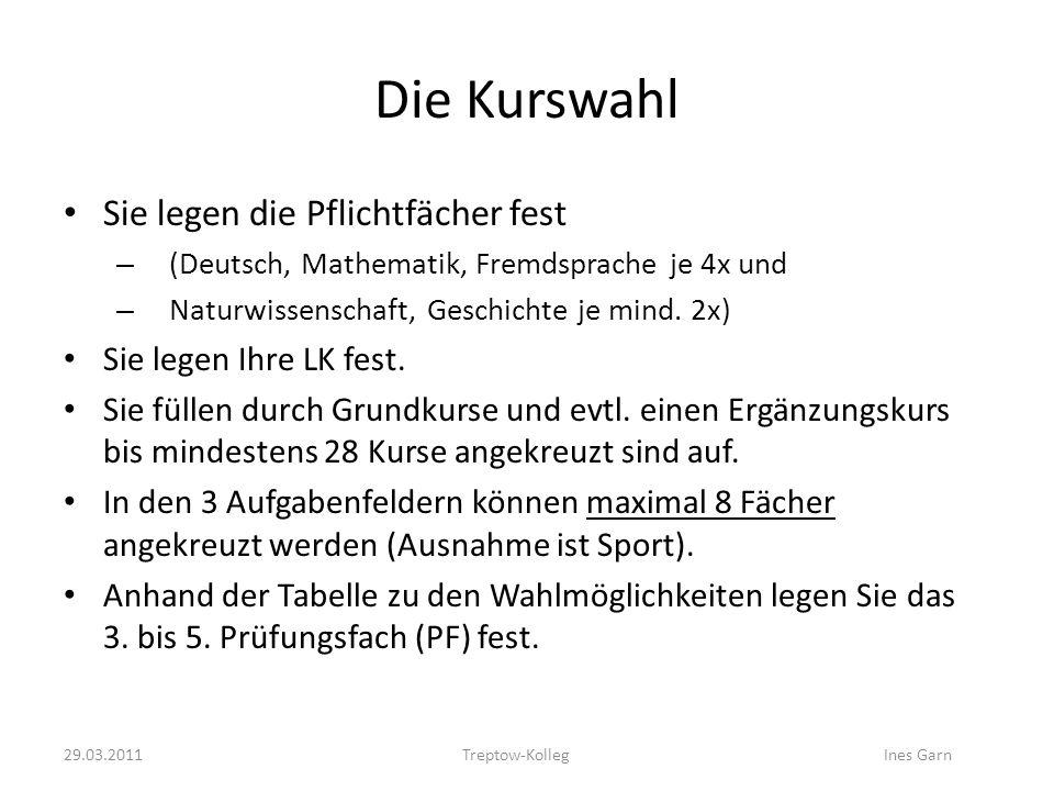 Die Kurswahl Sie legen die Pflichtfächer fest – (Deutsch, Mathematik, Fremdsprache je 4x und – Naturwissenschaft, Geschichte je mind. 2x) Sie legen Ih