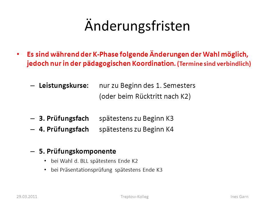 Änderungsfristen Es sind während der K-Phase folgende Änderungen der Wahl möglich, jedoch nur in der pädagogischen Koordination. (Termine sind verbind