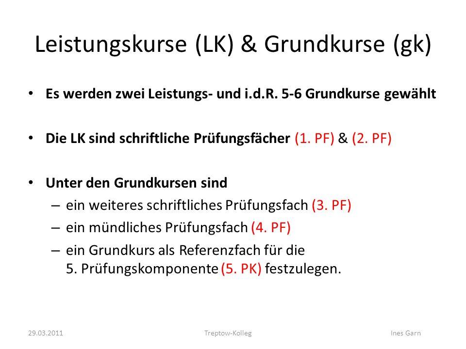 Leistungskurse (LK) & Grundkurse (gk) Es werden zwei Leistungs- und i.d.R. 5-6 Grundkurse gewählt Die LK sind schriftliche Prüfungsfächer (1. PF) & (2