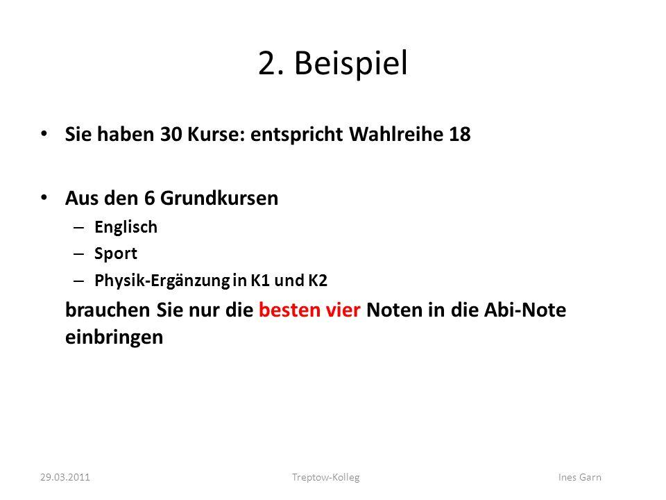 2. Beispiel Sie haben 30 Kurse: entspricht Wahlreihe 18 Aus den 6 Grundkursen – Englisch – Sport – Physik-Ergänzung in K1 und K2 brauchen Sie nur die