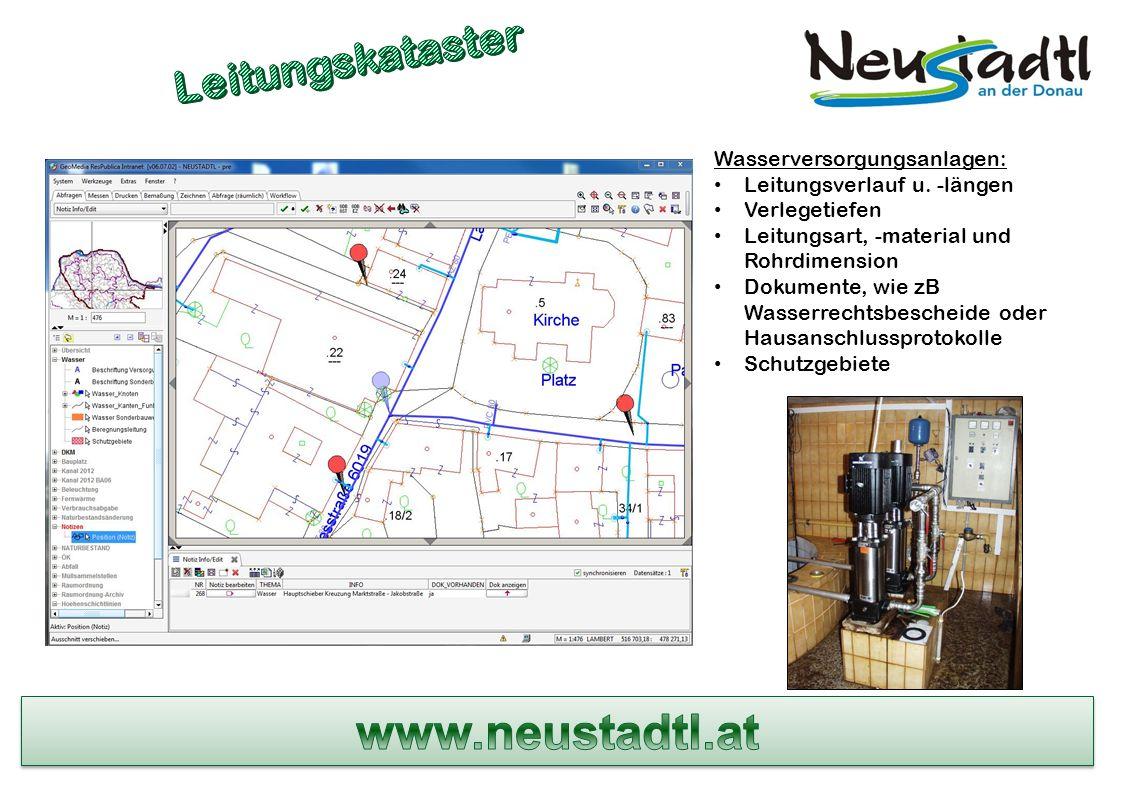Wasserversorgungsanlagen: Leitungsverlauf u.