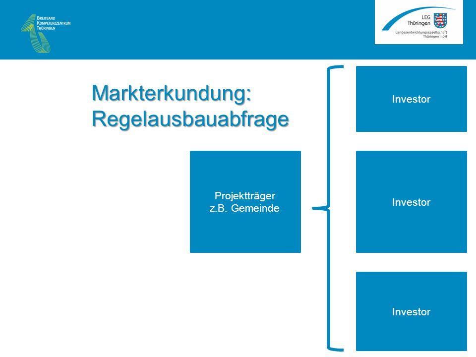 Investor Projektträger z.B. Gemeinde Investor Markterkundung: Regelausbauabfrage