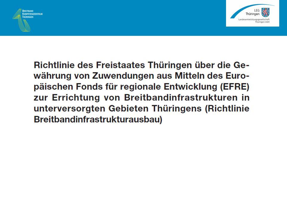 Primat der wettbewerbsgetriebenen Lösung vor einer subventionierten Lösung Dieses Primat ist auch in der Förderrichtlinie verankert, welche unter 4.1 festschreibt: Maßgeblich für die Beurteilung der Förderfähigkeit ist die Sach- und Rechtslage zum Zeitpunkt der Entscheidung über die Bewilligung … Zur Beurteilung werden die Kriterien nach Punkt 46 der Breitbandleitlinien der EU zu Grunde gelegt Grundsätze bei der Prüfung