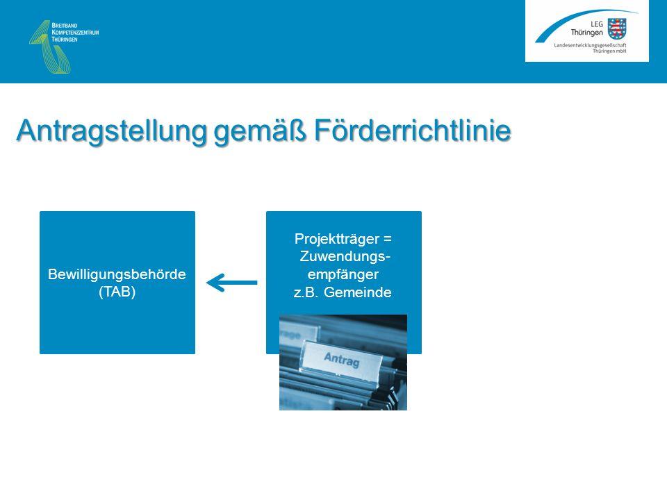Bewilligungsbehörde (TAB) Antragstellung gemäß Förderrichtlinie Projektträger = Zuwendungs- empfänger z.B.