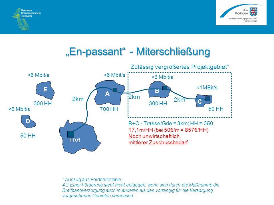 A B C HVt <1MBit/s <3 Mbit/s <6 Mbit/s 2km 50 HH 300 HH 700 HH B+C - Trasse/Gde = 3km; HH = 350 17,1m/HH (bei 50/m = 857/HH) Noch unwirtschaftlich, mittlerer Zuschussbedarf Zulässig vergrößertes Projektgebiet* En-passant - Miterschließung * Auszug aus Förderrichtlinie: 4.2 Einer Förderung steht nicht entgegen, wenn sich durch die Maßnahme die Breitbandversorgung auch in anderen als den vorrangig für die Versorgung vorgesehenen Gebieten verbessert.