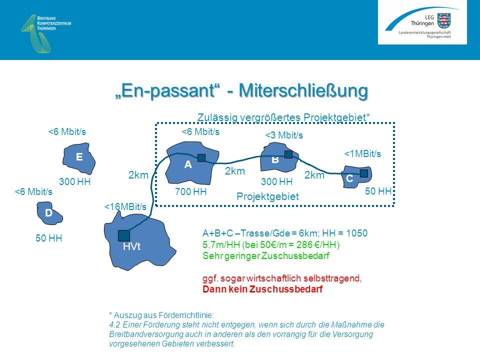 A B C HVt <16MBit/s <1MBit/s <3 Mbit/s <6 Mbit/s 2km 50 HH 300 HH 700 HH A+B+C –Trasse/Gde = 6km; HH = 1050 5,7m/HH (bei 50/m = 286 /HH) Sehr geringer Zuschussbedarf ggf.