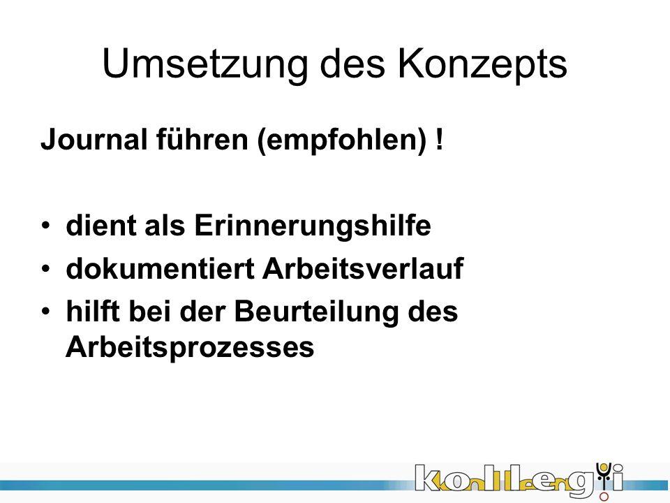 Umsetzung des Konzepts Journal führen (empfohlen) .