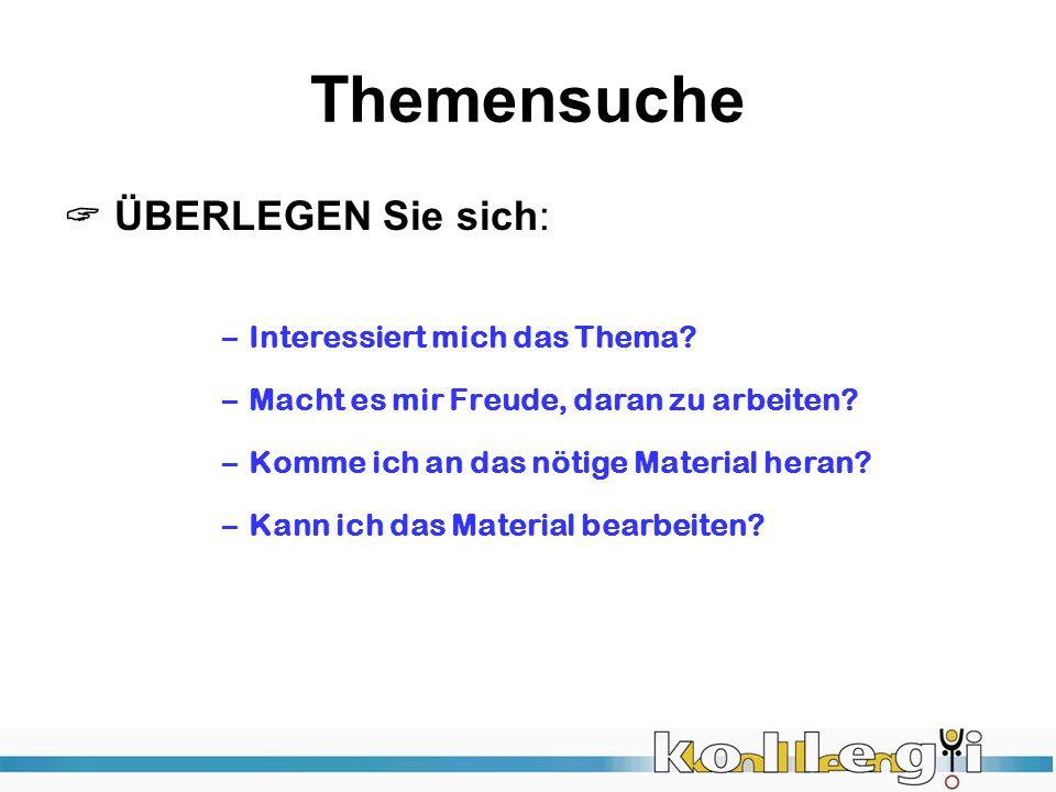 Thema & Leitfrage &….