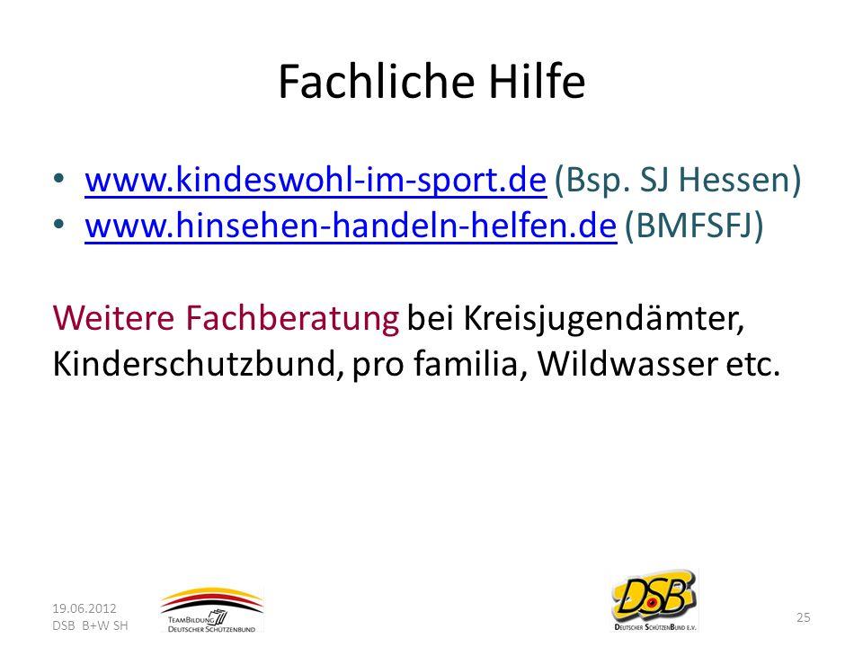 Fachliche Hilfe www.kindeswohl-im-sport.de (Bsp. SJ Hessen) www.kindeswohl-im-sport.de www.hinsehen-handeln-helfen.de (BMFSFJ) www.hinsehen-handeln-he