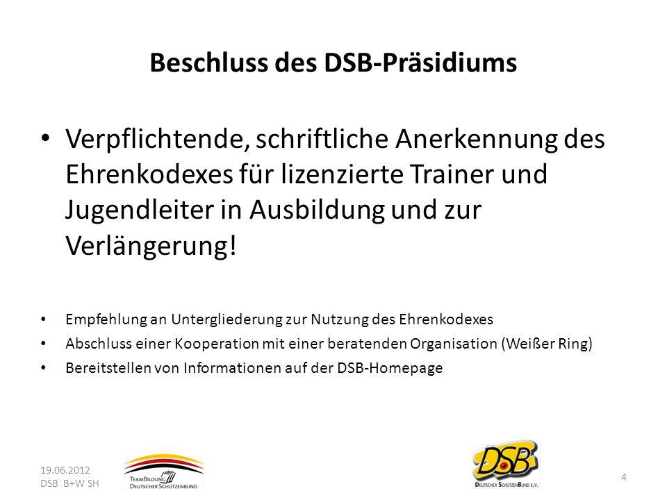 Beschluss des DSB-Präsidiums Verpflichtende, schriftliche Anerkennung des Ehrenkodexes für lizenzierte Trainer und Jugendleiter in Ausbildung und zur