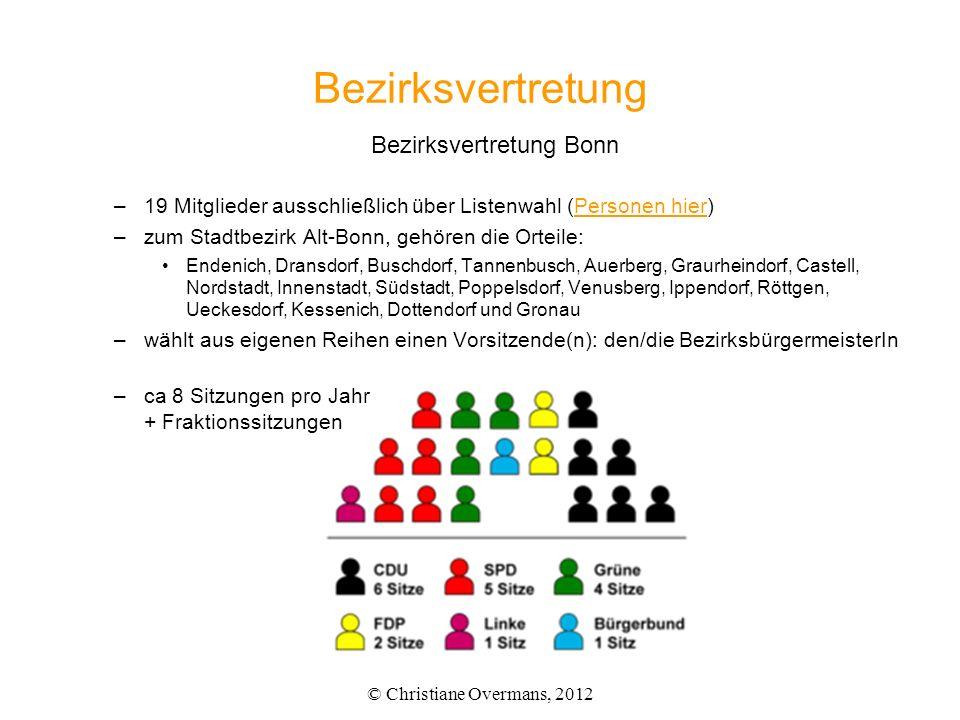 Bezirksvertretung Bezirksvertretung Bonn –19 Mitglieder ausschließlich über Listenwahl (Personen hier)Personen hier –zum Stadtbezirk Alt-Bonn, gehören