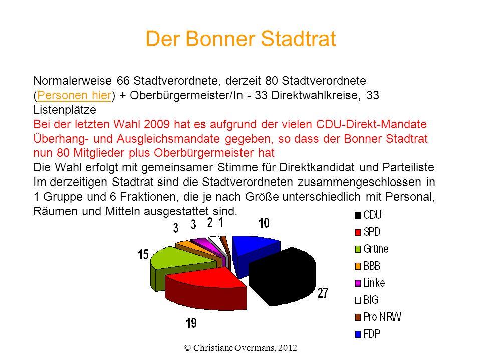 Der Bonner Stadtrat Normalerweise 66 Stadtverordnete, derzeit 80 Stadtverordnete (Personen hier) + Oberbürgermeister/In - 33 Direktwahlkreise, 33 List