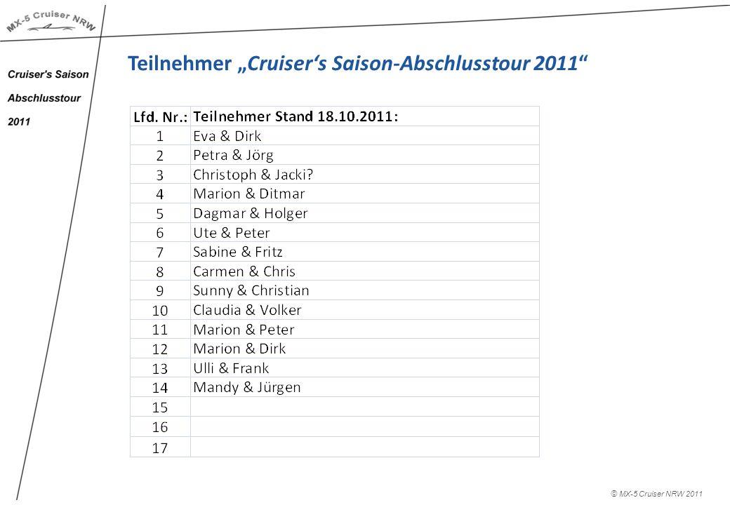 © MX-5 Cruiser NRW 2011 Teilnehmer Cruisers Saison-Abschlusstour 2011