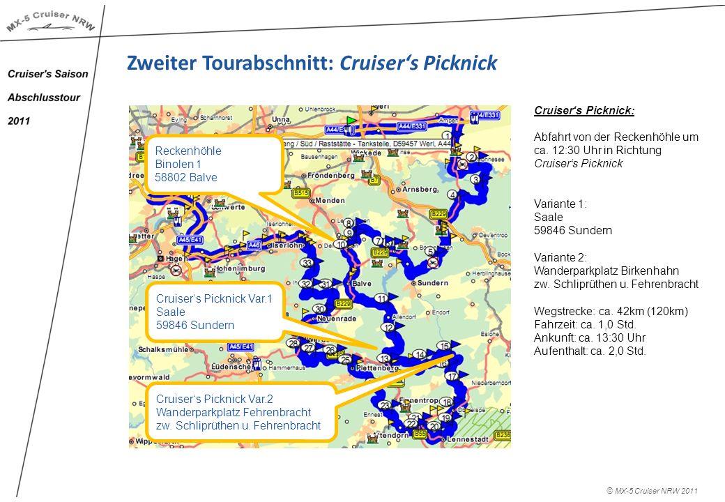 © MX-5 Cruiser NRW 2011 Zweiter Tourabschnitt: Cruisers Picknick Cruisers Picknick: Ankunft: ca.
