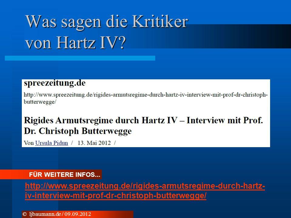 Was sagen die Kritiker von Hartz IV? FÜR WEITERE INFOS... http://www.spreezeitung.de/rigides-armutsregime-durch-hartz- iv-interview-mit-prof-dr-christ