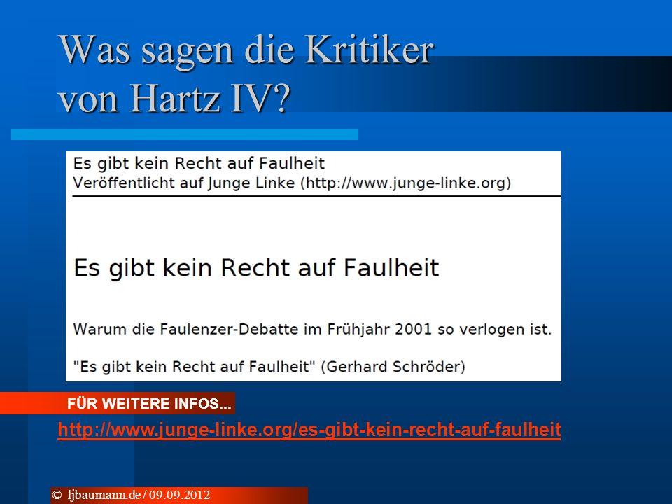 Was sagen die Kritiker von Hartz IV? © ljbaumann.de / 09.09.2012 FÜR WEITERE INFOS... http://www.junge-linke.org/es-gibt-kein-recht-auf-faulheit