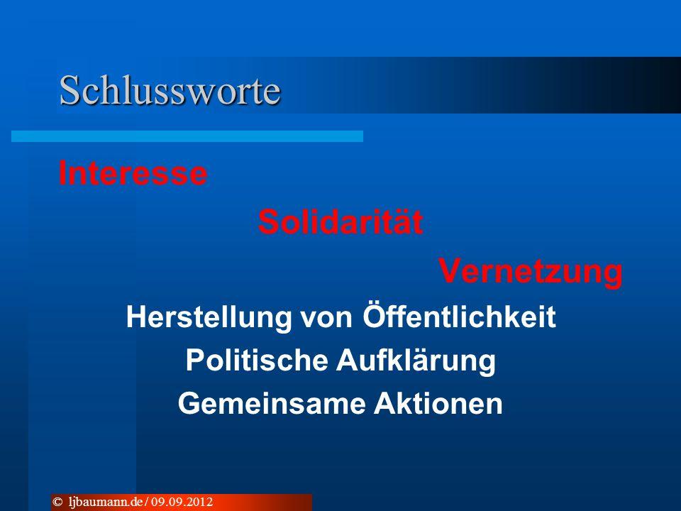 Schlussworte Interesse Solidarität Vernetzung Herstellung von Öffentlichkeit Politische Aufklärung Gemeinsame Aktionen © ljbaumann.de / 09.09.2012