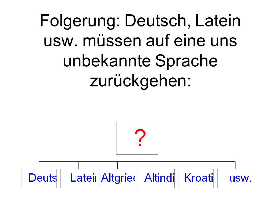 Folgerung: Deutsch, Latein usw. müssen auf eine uns unbekannte Sprache zurückgehen: