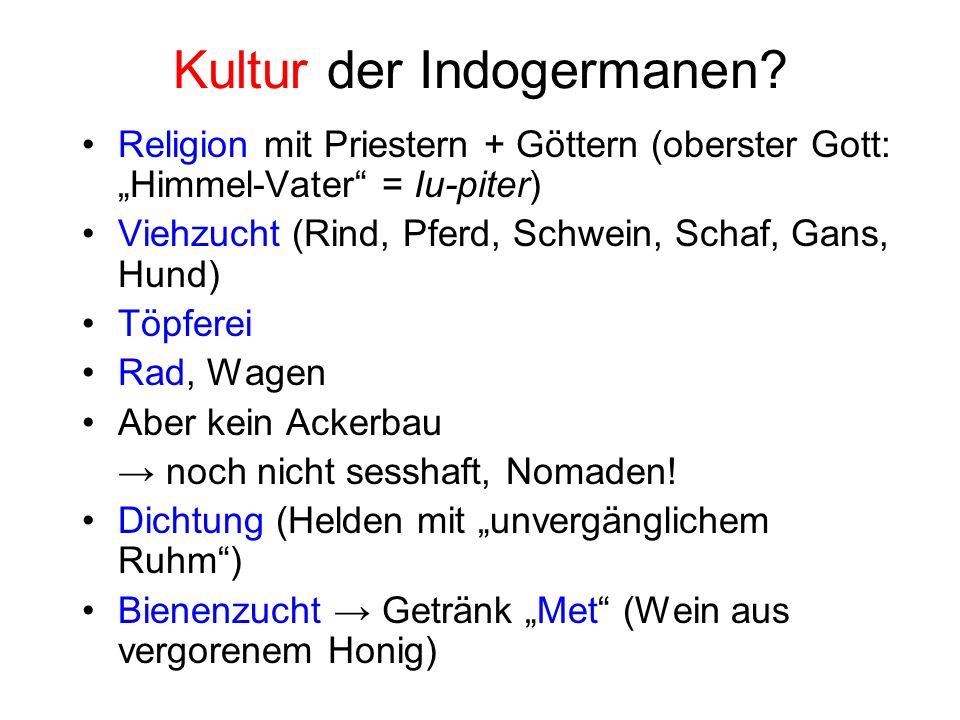 Kultur der Indogermanen? Religion mit Priestern + Göttern (oberster Gott: Himmel-Vater = Iu-piter) Viehzucht (Rind, Pferd, Schwein, Schaf, Gans, Hund)