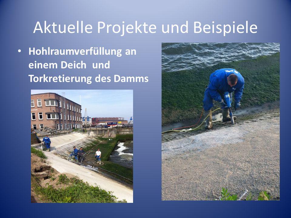 Aktuelle Projekte und Beispiele Hohlraumverfüllung an einem Deich und Torkretierung des Damms