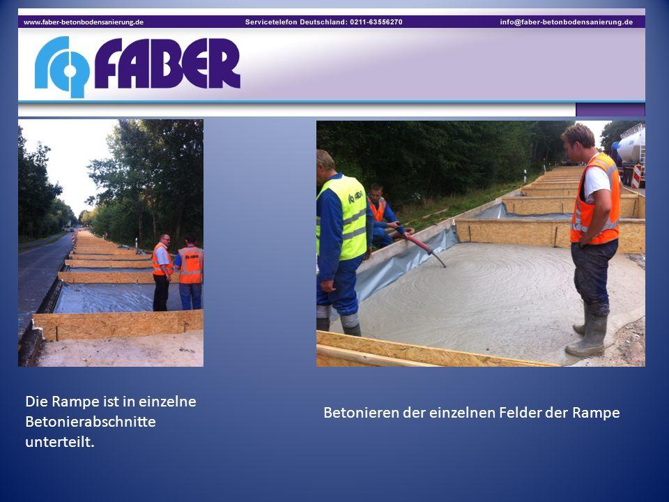 Die Rampe ist in einzelne Betonierabschnitte unterteilt. Betonieren der einzelnen Felder der Rampe