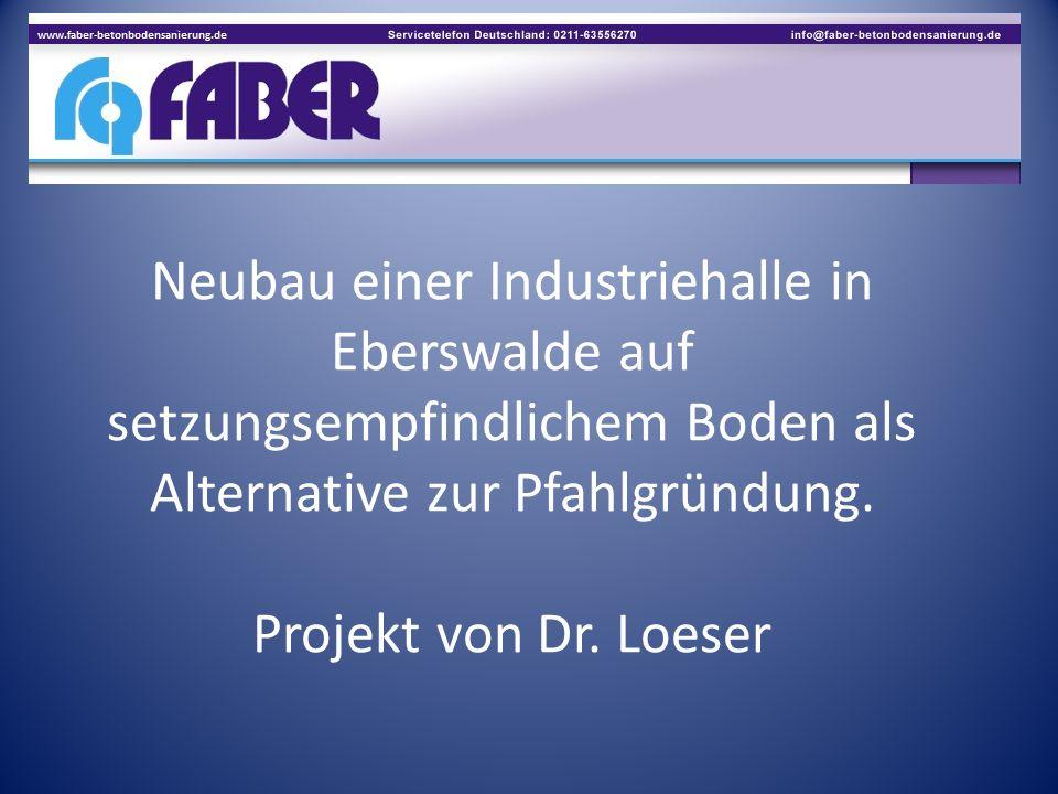 Neubau einer Industriehalle in Eberswalde auf setzungsempfindlichem Boden als Alternative zur Pfahlgründung. Projekt von Dr. Loeser