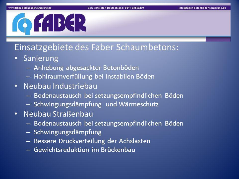 Einsatzgebiete des Faber Schaumbetons: Sanierung – Anhebung abgesackter Betonböden – Hohlraumverfüllung bei instabilen Böden Neubau Industriebau – Bod