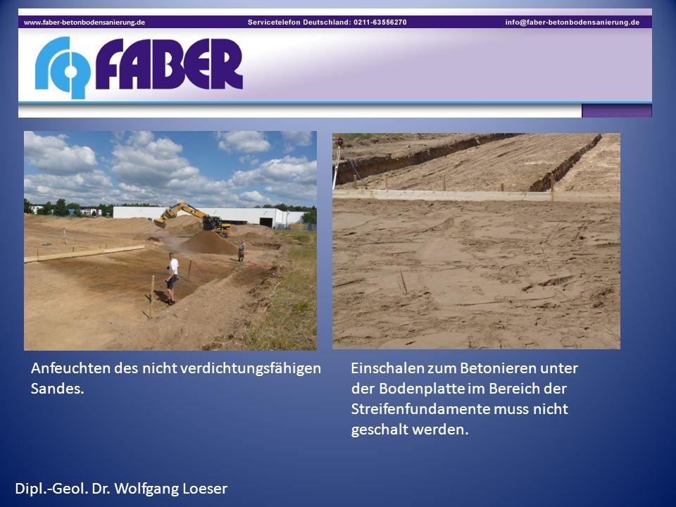 Anfeuchten des nicht verdichtungsfähigen Einschalen zum Betonieren unter Sandes. der Bodenplatte im Bereich der Streifenfundamente muss nicht geschalt