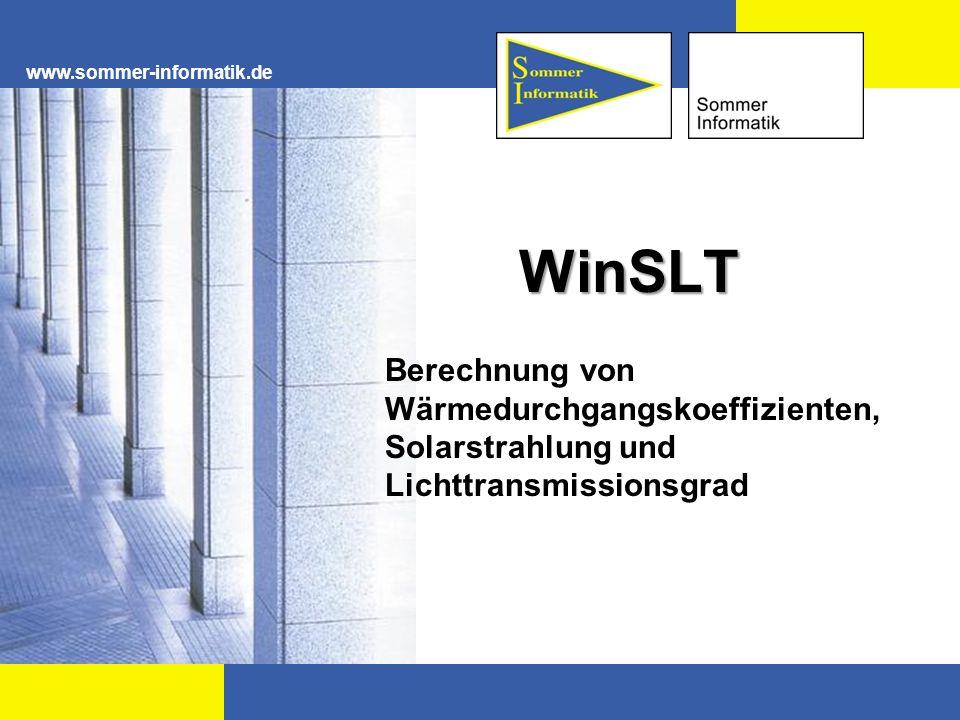www.sommer-informatik.de Einleitung Softwarelösung zur Berechnung der strahlungsphysikalischen und wärmetechnischen Eigenschaften von Isolierglas nach DIN EN 410, DIN EN 673 und DIN EN 13363 in Kombination mit Sonnenschutz.