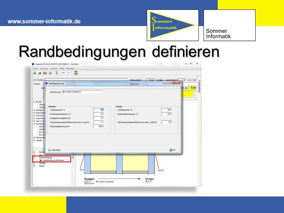 www.sommer-informatik.de Randbedingungen definieren