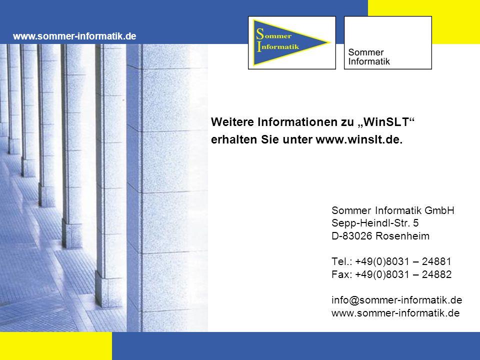 Sommer Informatik GmbH Sepp-Heindl-Str. 5 D-83026 Rosenheim Tel.: +49(0)8031 – 24881 Fax: +49(0)8031 – 24882 info@sommer-informatik.de www.sommer-info