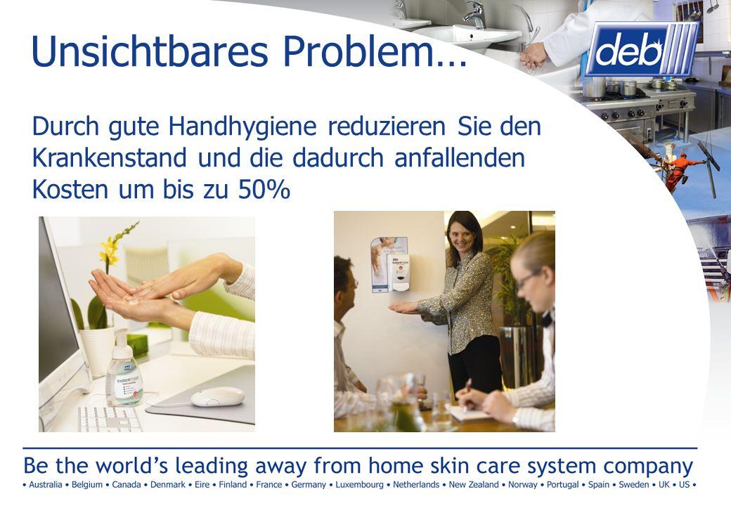 Unsichtbares Problem… Durch gute Handhygiene reduzieren Sie den Krankenstand und die dadurch anfallenden Kosten um bis zu 50%