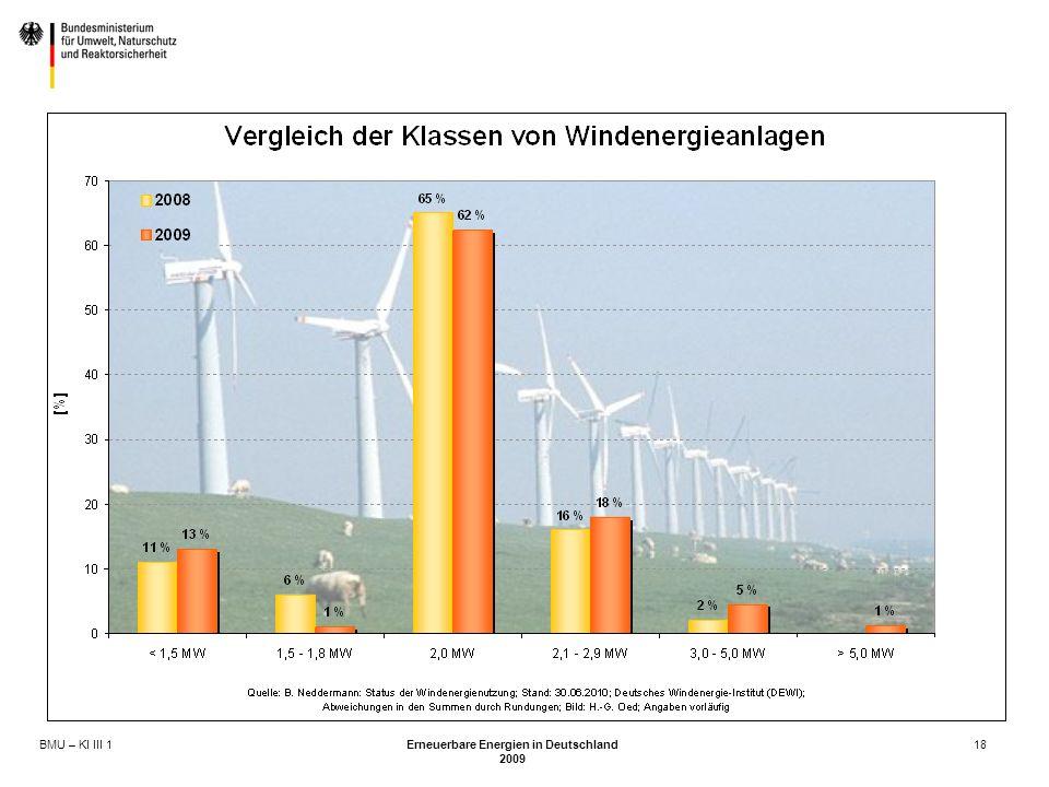 BMU – KI III 1 Erneuerbare Energien in Deutschland 2009 18