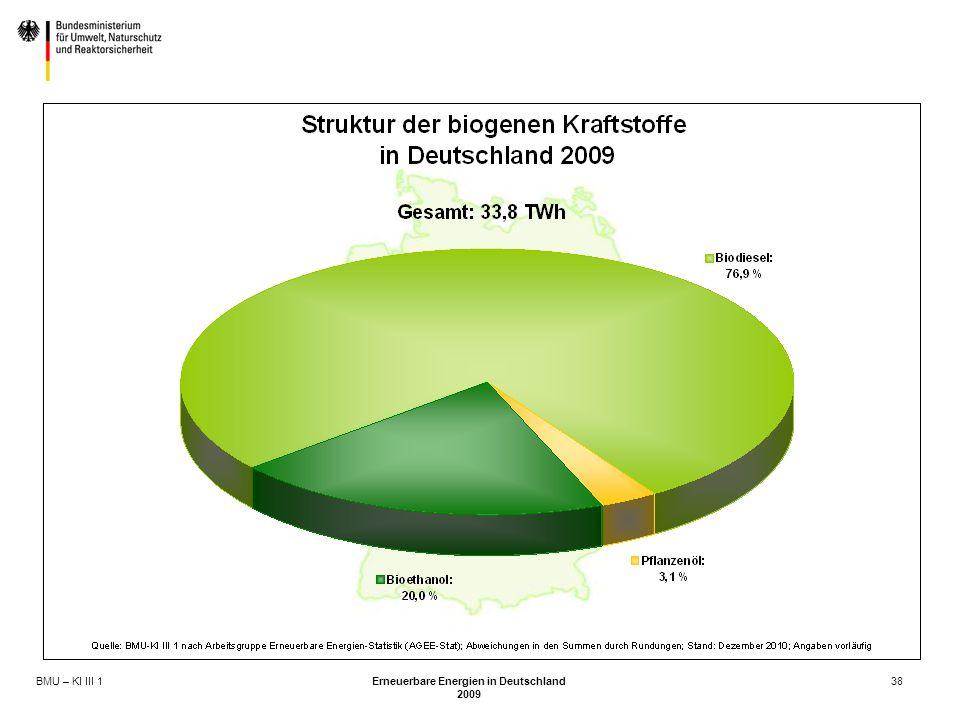 BMU – KI III 1 Erneuerbare Energien in Deutschland 2009 38