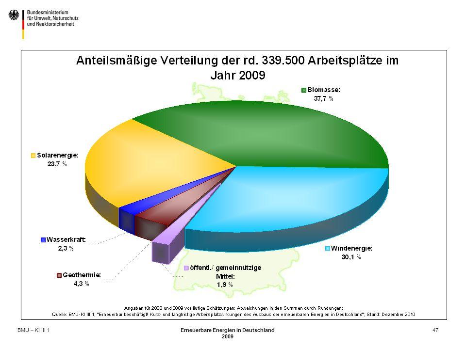 BMU – KI III 1 Erneuerbare Energien in Deutschland 2009 47