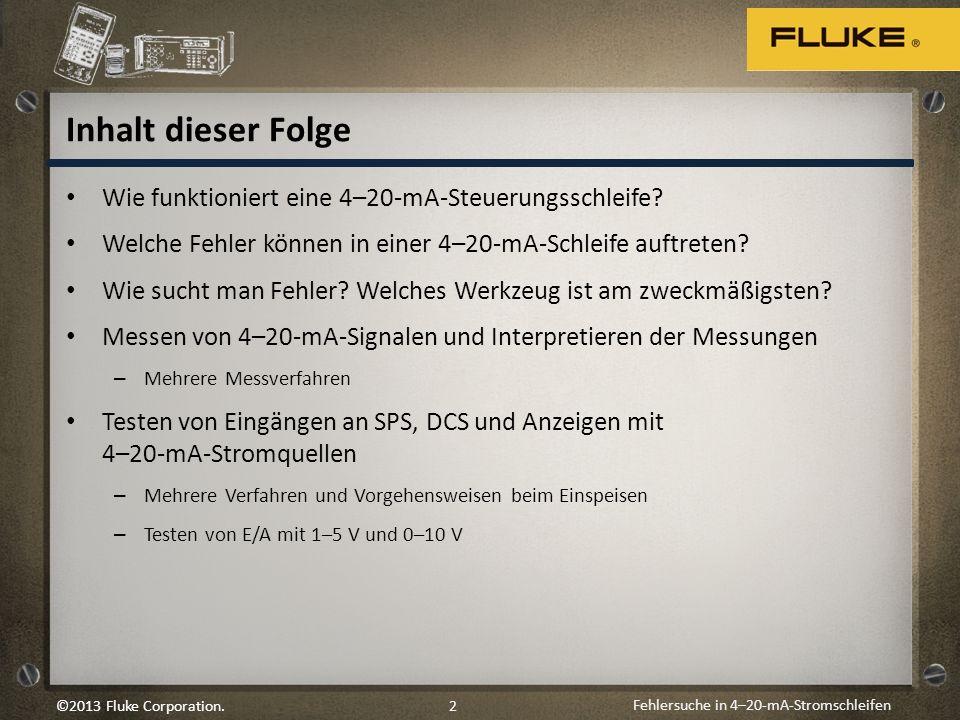 Fehlersuche in 4–20-mA-Stromschleifen 2©2013 Fluke Corporation. Inhalt dieser Folge Wie funktioniert eine 4–20-mA-Steuerungsschleife? Welche Fehler kö
