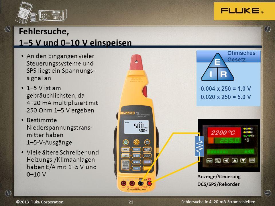 Fehlersuche in 4–20-mA-Stromschleifen 21©2013 Fluke Corporation. An den Eingängen vieler Steuerungssysteme und SPS liegt ein Spannungs- signal an 1–5