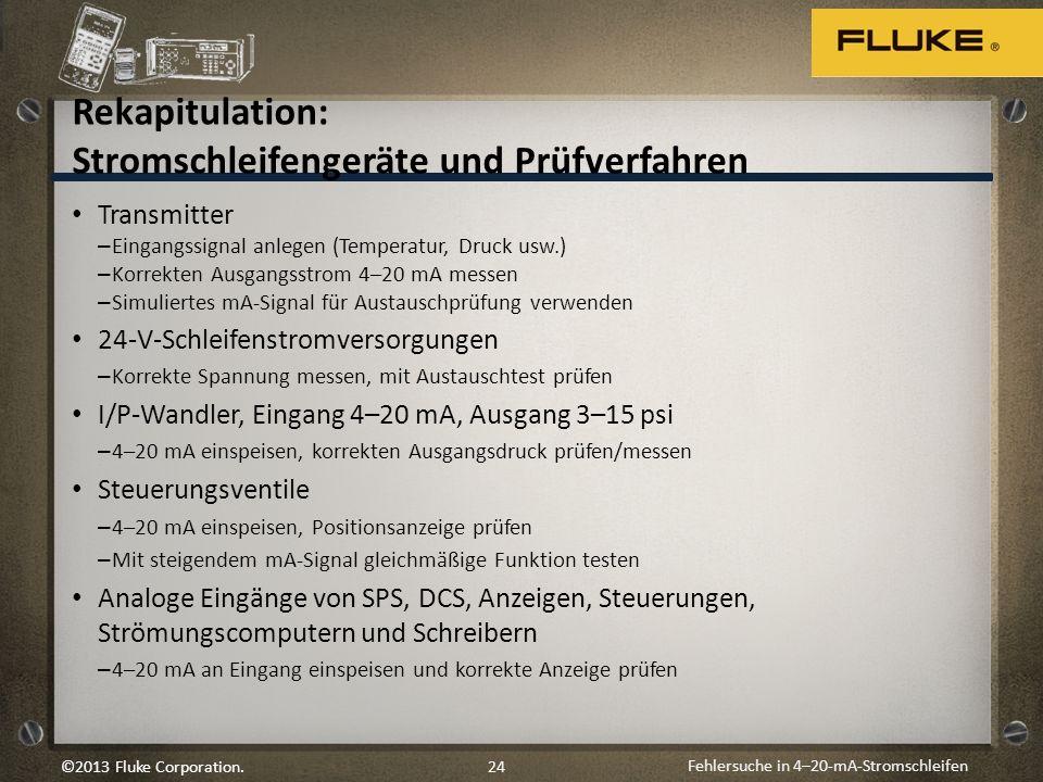 Fehlersuche in 4–20-mA-Stromschleifen 24©2013 Fluke Corporation. Rekapitulation: Stromschleifengeräte und Prüfverfahren Transmitter – Eingangssignal a