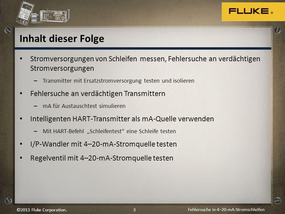 Fehlersuche in 4–20-mA-Stromschleifen 3©2013 Fluke Corporation. Inhalt dieser Folge Stromversorgungen von Schleifen messen, Fehlersuche an verdächtige