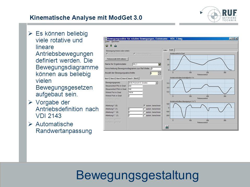 Kinematische Analyse mit ModGet 3.0 Kurvengetriebe und Wälzpressung Im Maschinen- und Gerätebau werden zur Verwirklichung von Übertragungsfunktionen häufig Kurvengetriebe eingesetzt.